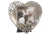 FILIGREE - Rustic Lace Heart Shaped Free Standing Photo / Picture Frame - Pewter