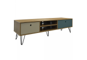 INDUSTRIAL - Low Wide Entertainment Storage Unit with 2 Drawers - Oak