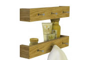 ELLIS - 2 PACK - Wall Mounted 40cm Floating Shelf with 3 Hooks - Oak