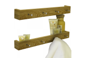 ELLIS - 2 PACK - Wall Mounted 2ft / 60cm Floating Shelf with 4 Hooks - Oak