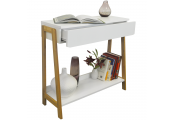 Bamboo Slimline Console / Dressing Table with Shelf and Storage Drawer - White