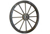 CARTWHEEL - Decorative Solid Wood Garden Wheel Ornament with Metal Rim