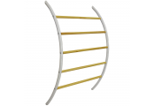 LADDER - Wall Mounted 5 Rung Metal and Wood Towel Rail - White / Natural