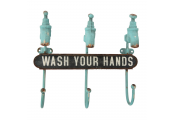 TAPS - Cast Iron Wall Mounted WASH YOUR HANDS 3 Towel Hooks - Brown / Turquoise