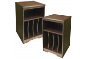 AUDIO - PACK OF TWO - Storage Side End / Bedside Table with Cubbies - Walnut