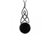 WHITBY JET - Sterling Silver Art Nouveau / Celtic Circle Pendant Necklace / 18inch Chain