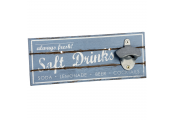 SOFT DRINKS - Wall Mounted Wood and Metal Bottle Opener  - Blue / White