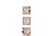 HEART - Hanging Triple Photo Frame with Heart Detail - Cream / Red