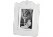 SCROLL - Traditional Free Standing Single 5x7 Photo Frame - White