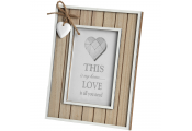 HEART - Driftwood Effect Free Standing Single 5x7 Photo Frame - Brown / White