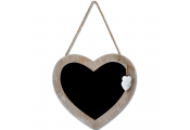 HEART - Driftwood Effect Hanging Chalkboard / Blackboard - Brown / White