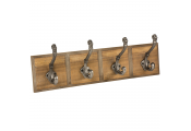 KASAN - Wall Mounted 4 Double Coat Hook Rack - Brown / Grey