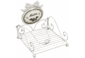 BISTRO - French Theme Metal Napkin / Tissue Holder - White
