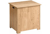 LUQA - Wood Veneer Storage Chest / Laundry Box with Hinged Lid - Oak