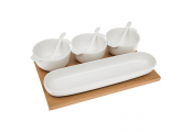 BAMBOO - Condiments Set / 3 Storage Pots with Spoons and Tray - White / Brown