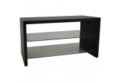 OPIE - TV Stand / Entertainment Unit / Coffee Table with Two Glass Shelves - Black