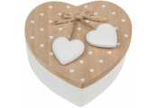 RUSTIC HEART - Wood Heart Shaped Storage / Trinket / Jewellery Box - Brown / White