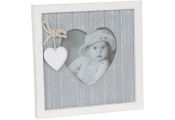 PROVENCE - Wood Heart Shaped Photo Frame with 3 x 3 Aperture - Brown / White