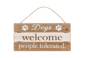PLAQUE - Hanging Decorative Wood Plank Sign - Dogs Welcome People Tolerated - Brown