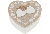 RUSTIC FRENCH - Wood Heart Shaped Storage / Trinket / Jewellery Box - Brown / White