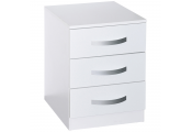 LUCIE - Modern Chest of 3 Drawers / Storage Bedside Table - White