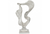 ABSTRACT - Ceramic Swirl Wave Shaped Decorative Ornament - Silver