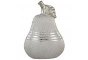FRUIT - Ceramic Pear Shaped Decorative Ornament - Silver