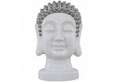 BUDDHA - Ceramic Buddha Decorative Head Ornament -  White / Silver