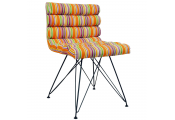 RETRO - Bright Stripe Eames Inspired Metal Leg Padded Chair - Orange / Pink