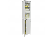 FLEUR - Floor Standing Tall Bathroom Storage Cupboard with Open Shelves - White