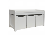 NEWTON - Hallway / Shoe / Toy / Bedroom Storage Bench with 3 Drawers - White