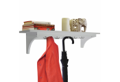 MEDFORD - 90cm Wall Storage Shelf with 5 Hooks / Hallway Coat Rack / Towel Shelf - White