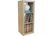 CUBE - 3 Cubby Square Display Shelves / Vinyl LP Record Storage - Limed Oak