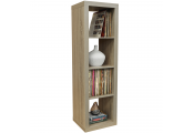 CUBE - 4 Cubby Square Display Shelves / Vinyl LP Record Storage Tower - Limed Oak