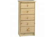 HARTFORD - Solid Wood Chest of Drawers / 5 Drawer Storage Chest - Pine