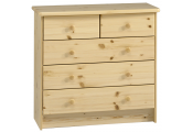 HARTFORD - Solid Wood Chest of Drawers / 5 Drawer Wide Storage Chest - Pine