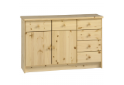 HARTFORD - Solid Wood Wide Storage Cupboard Sideboard with 6 Drawers - Pine