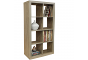 CUBE - 8 Cubby Square Display Shelves / Vinyl LP Record Storage Tower - Limed Oak