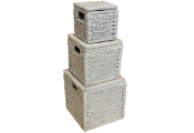WEAVE - Set of 3 Natural Woven Water Hyacinth Boxes with Hinged Lids - Whitewash