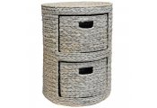 WEAVE - Two Drawer Bedside Table / End Table / Storage Chest - Whitewash