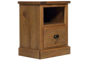 PORTLAND - Wood Effect Side / End / Bedside Table with Drawer - Rustic Pine