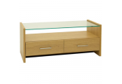 SALINA - Modern Glass Top TV Stand / Entertainment Unit with Drawers - Oak