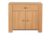 BURDON - Compact Modern Double Door Storage Sideboard / Cupboard - Oak