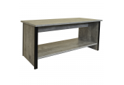 COLUMN - Coffee Table with Storage Shelf - Rustic Oak / Black