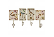 TWEET - Wall Mounted 4 Coat / Towel / Key Hook with Bird Art Plaques - Cream / Multi-coloured