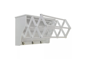 RUNDLE - Wall Mounted Folding Extending Towel Rail with Shelf and Hooks - White