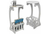SCROLL - 2 PACK - Side / End / Bedside Table with Magazine / Book Storage Rack - White