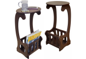 SCROLL - 2 PACK - Side / End / Bedside Table with Magazine / Book Storage Rack - Dark