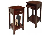 KYOTO - 2 PACK - Solid Wood Storage Telephone / End Table with Drawer - Wenge