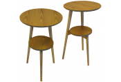 ORION - 2 PACK - Retro Solid Wood Tripod Leg Round Table with Shelf - Natural